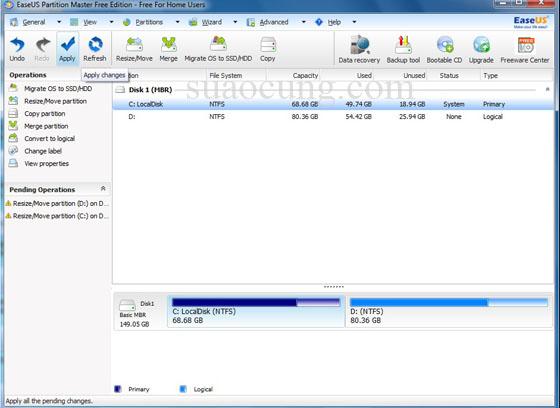 chia lại ổ cứng không mất dữ liệu